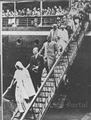Gandhi alighting from S.S. Rajaputana at Marseilles, September 11, 1931