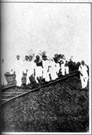 Gandhi, on his evening walk, accompanied by Kasturbai, Vallabhbhai Patel, and Mirabehn, Sabarmati, 1929