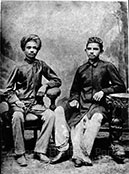 With his classmate Sheikh Mehtab (Right) at Rajkot, Kathiawad,1883