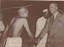Gandhi greets Sir Stafford Cripps at the Bhangi Colony, Delhi, April 1946