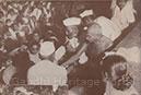 Collecting funds for riot victims; Professor Abdul Bari, Bihar Congress leader is next to Mahatma Gandhi.