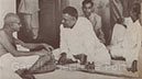 Discussing with Muslim League leaders measures for restoring communal harmony in Calcutta, August 1947.